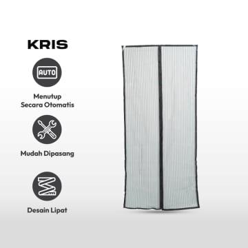 KRISBOW TIRAI PINTU MAGNET ANTI NYAMUK 100X220 CM - HITAM_3
