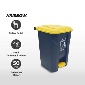 KRISBOW TEMPAT SAMPAH PLASTIK OUTDOOR 50 LTR - KUNING/ABU-ABU_3