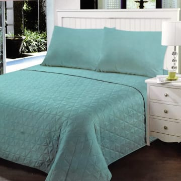 BED COVER CLOVER 210X210 CM - BIRU TEAL_1