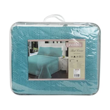 BED COVER CLOVER 210X210 CM - BIRU TEAL_3