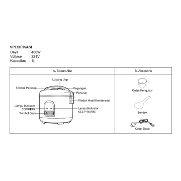 APPETITE ELECTRICAL HUBERT RICE COOKER 1.2 LTR_2