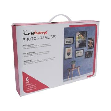 KRISHOME SET BINGKAI FOTO PLASTIK 6 PCS - HITAM_2