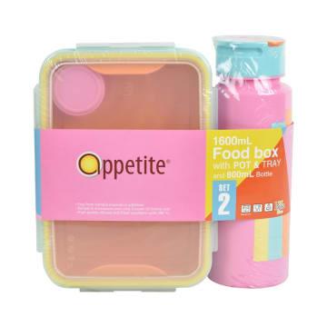 APPETITE SET TEMPAT MAKAN 1.6 LTR & BOTOL MINUM - PINK_1