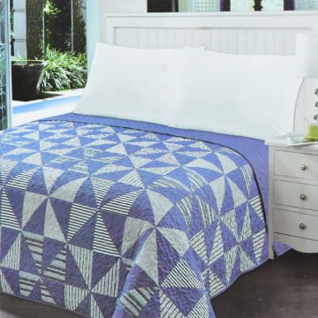 LINOTELA BED COVER NT757 240X210 CM - BIRU NAVY_1