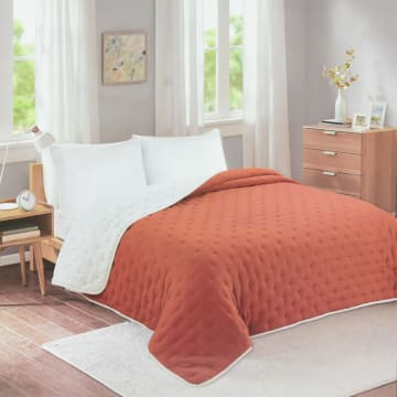 BED COVER DOT STITCH 210X210 CM - ORANGE_1