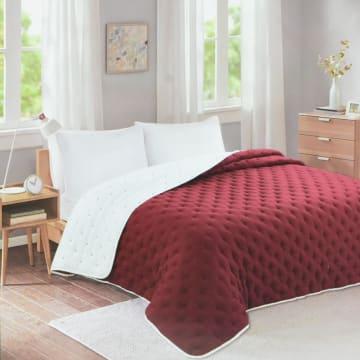 BED COVER DOT STITCH 210X210 CM - MERAH_1