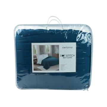 BED COVER DOT STITCH 210X210 CM - HIJAU TEAL_3