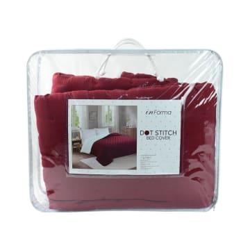 BED COVER DOT STITCH 210X210 CM - MERAH_3