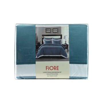 FIORE SET SEPRAI KATUN SATIN LUXURY HEM 160X200+40 CM 6 PCS - TEAL_3