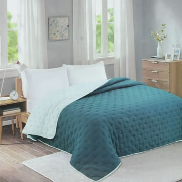 BED COVER DOT STITCH 210X210 CM - HIJAU TEAL_1