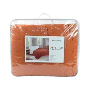 BED COVER DOT STITCH 210X210 CM - ORANGE_3