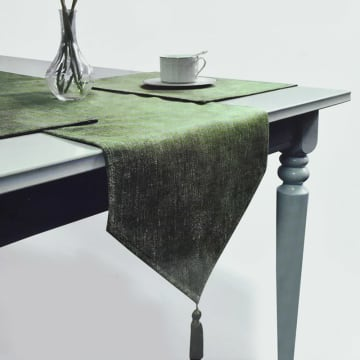 SET TATAKAN PIRING & TABLE RUNNER LINEN LOOKS - HIJAU_1