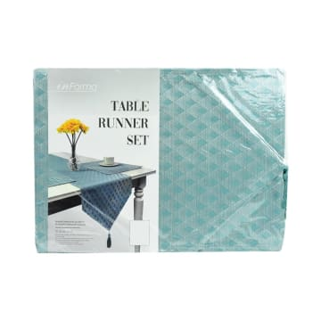 SET TATAKAN PIRING & TABLE RUNNER LATTICE - BIRU MUDA_3