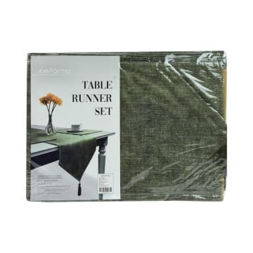 SET TATAKAN PIRING & TABLE RUNNER LINEN LOOKS - HIJAU_3