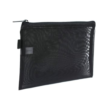 POUCH TRAVEL FLAT MESH 3 PCS - HITAM_3