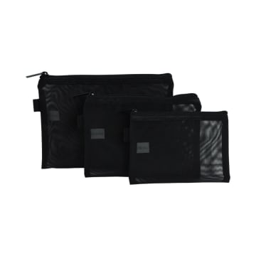 POUCH TRAVEL FLAT MESH 3 PCS - HITAM_1