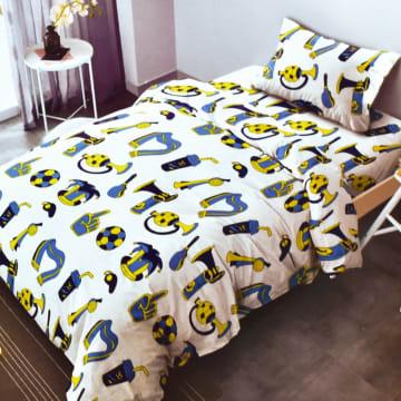 KRISHOME SET SEPRAI DAN BED COVER ANAK FOOTBALL 120X200+30 CM 4 PCS - PUTIH_1