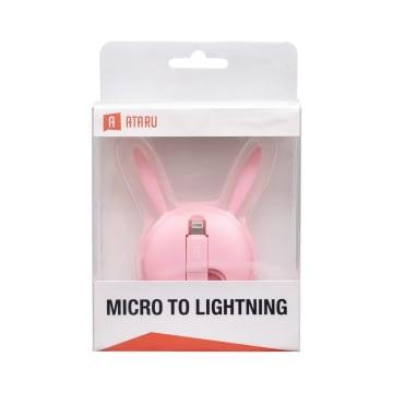 ATARU KABEL USB TO MICRO/LIGHTNING BUNNY - PINK_1