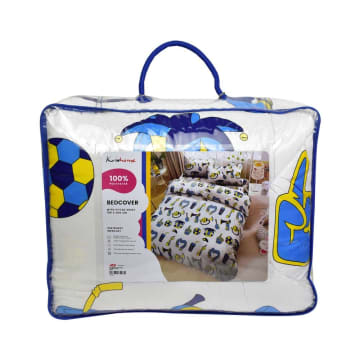KRISHOME SET SEPRAI DAN BED COVER ANAK FOOTBALL 180X200+30 CM 6 PCS - PUTIH_3
