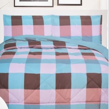 KRISHOME BED COVER POLYESTER CHECKER 150X200 CM - MIX_1
