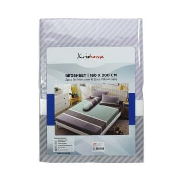 KRISHOME SET SEPRAI MICROFIBER STRIPE 180X200+30 CM 5 PCS - ABU-ABU_3