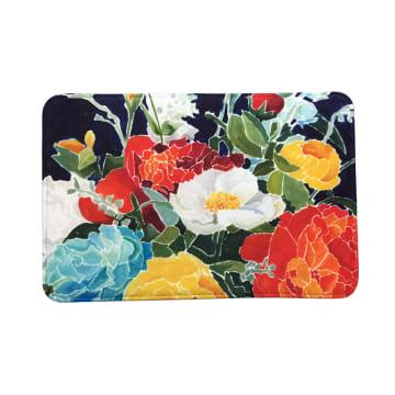 KESET KAMAR MANDI FLANNEL PRINT FLOWER 40X60 CM - BIRU_1