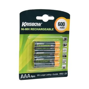 KRISBOW SET BATERAI RECHARGEABLE SIZE AAA 600 MAH 4 PCS_2