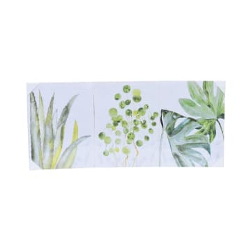 SET HIASAN DINDING KANVAS PRINT LEAVES 30X40X1.5 CM 3 PCS_1