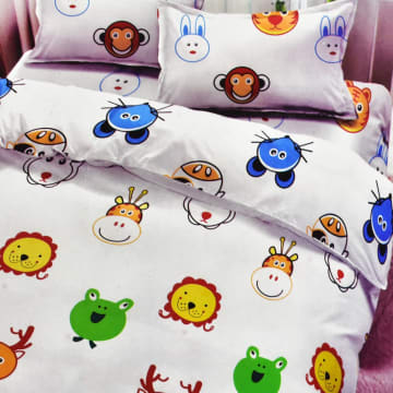 KRISHOME SET SEPRAI DAN BED COVER ANAK ANIMAL 180X200+30 CM 6 PCS - PUTIH_1
