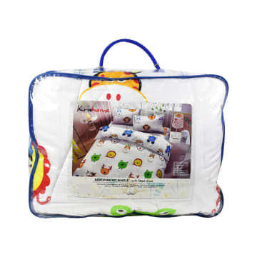 KRISHOME SET SEPRAI DAN BED COVER ANAK ANIMAL 180X200+30 CM 6 PCS - PUTIH_3