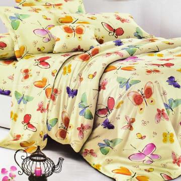 KRISHOME SET SEPRAI DAN BED COVER ANAK AIR BUTTERFLY 180X200+30 CM 6 PCS - KREM_1