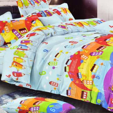 KRISHOME SET SEPRAI DAN BED COVER ANAK PENCIL 180X200+35 CM 6 PCS_1