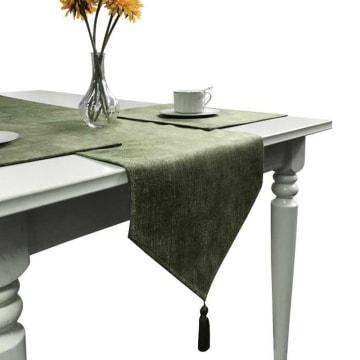 TABLE RUNNER GLITTER 33X180 CM - HIJAU_1