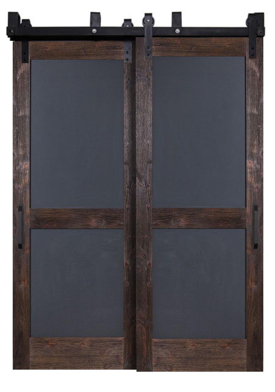 Chalkboard Bypassing Barn Doors Rustica