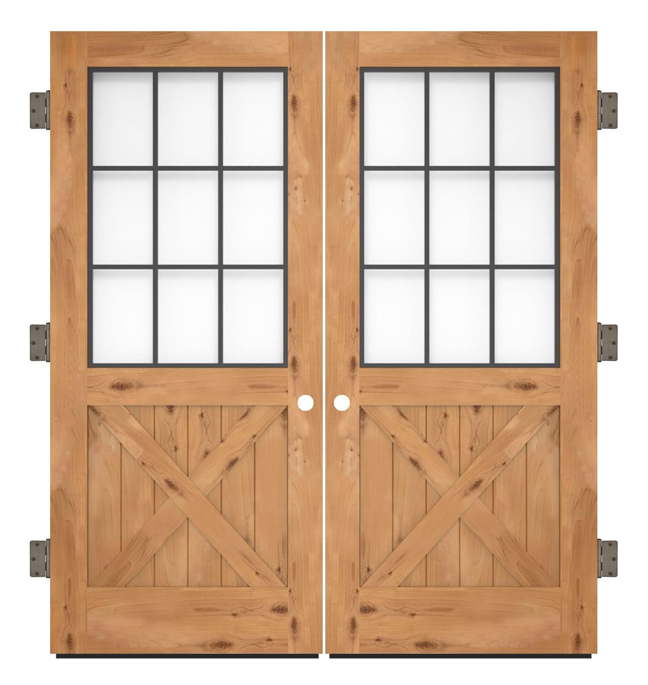 Farmhouse French Half X Exterior Double Slab Door Rustica