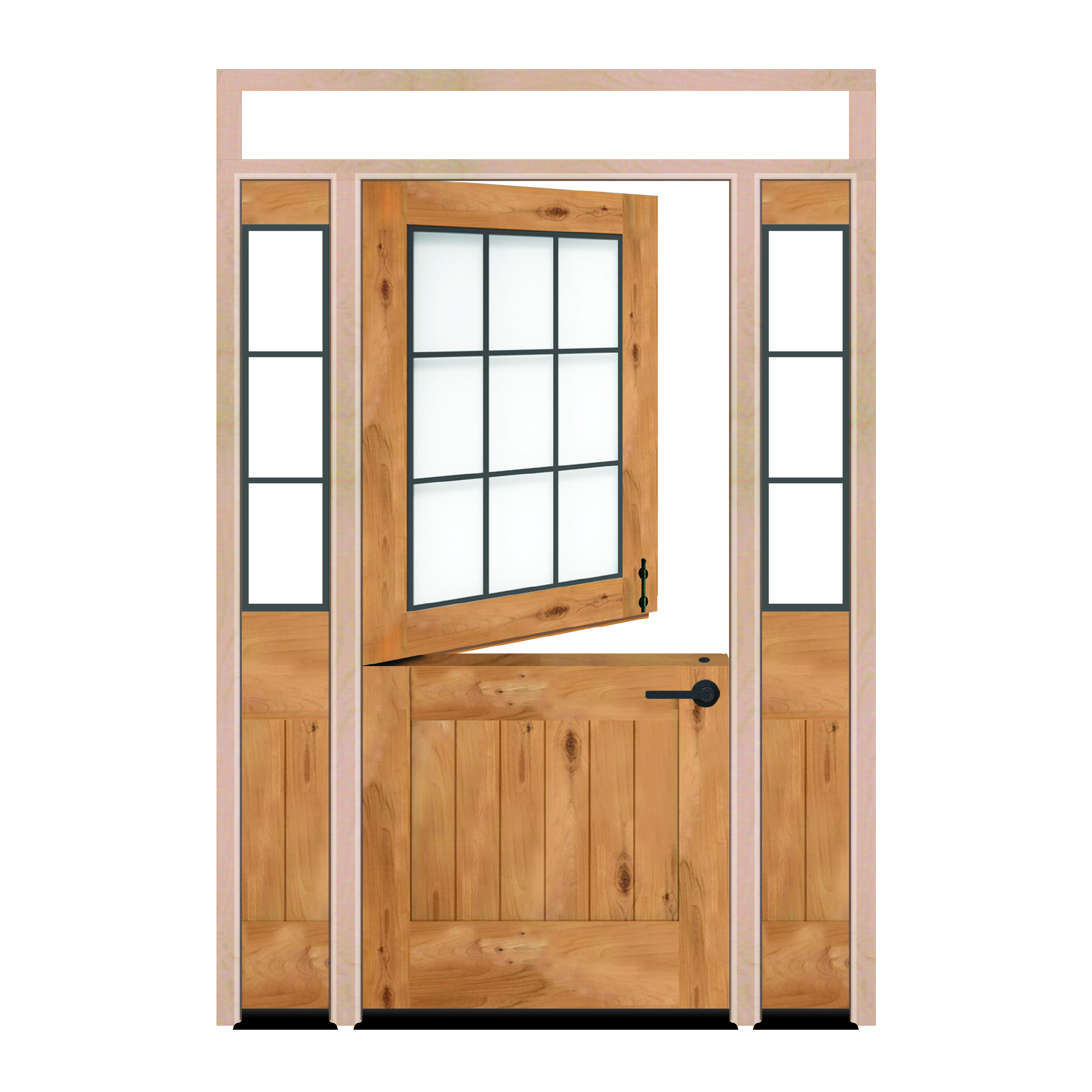 Farmhouse Dutch Exterior Door With Sidelights And Transom Window Rustica