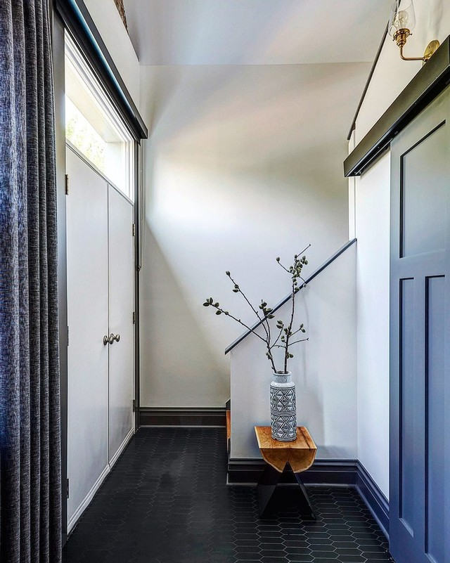 modern farmhouse contemporary entryway with blue barn door