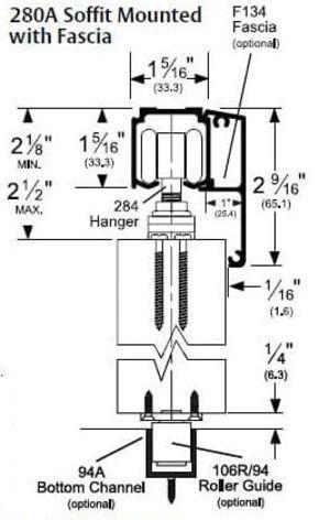 Husky 200 Soffit Mount with Fascia Sliding Door Hardware Kit
