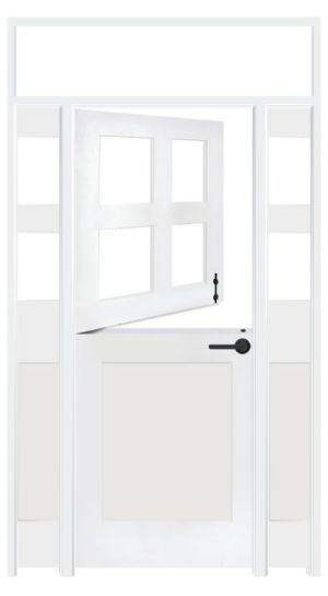 Country Dutch Interior Door With Sidelights And Transom Window