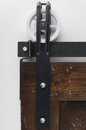 Spoked Marksman Barn Door Hardware - Big Wheel