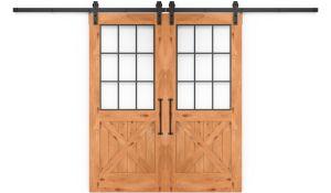 Farmhouse French Half X Double Barn Door