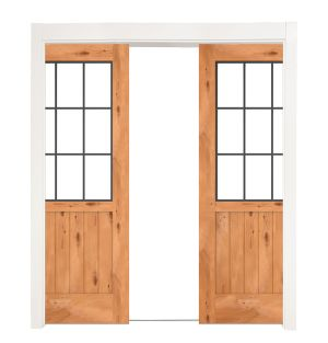 Farmhouse French Half Double Converging Pocket Doors