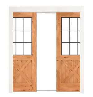 Farmhouse French Half X Double Converging Pocket Doors