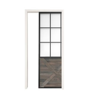 Mountain French Half X Single Pocket Door