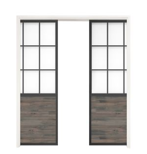 Mountain French Half Double Converging Pocket Doors