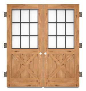 Farmhouse French Half X Exterior Double Slab Door
