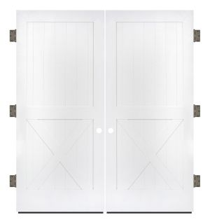 Half X Exterior Double Slab Door