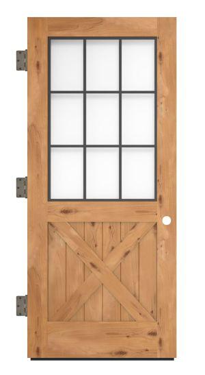 Farmhouse French Half X Exterior Slab Door