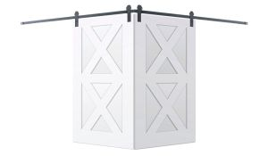 Contemporary Double X Corner Barn Door