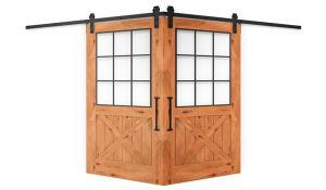 Farmhouse French Half X Corner Barn Door